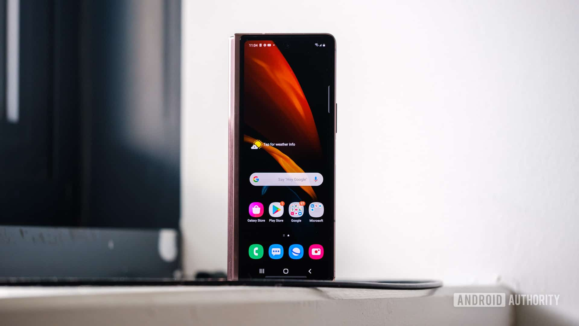 Samsung Galaxy Z Fold 2 front display standing up